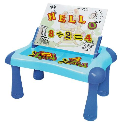 Large Blue Magnetic Learning Desk With Alphabets & Numbers